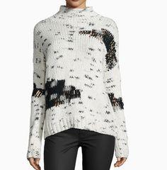 Earnest Mock-Neck Distress Knit Sweater   Line