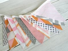 Bunting Fabric Banner, Fabric Flags, Girl Nursery Decor, Wedding, Photography Prop - Pink, Peach, Gray Chevron and Geometric - Ready to Ship