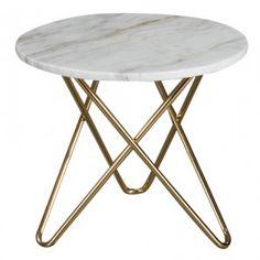 Topp - runt marmor soffbord/sidobord med mässing underrede Ø: 42cm