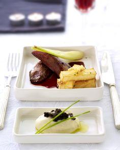 Gebraden eend, pastinaakmousse met truffel & frietjes van knolselder met noten