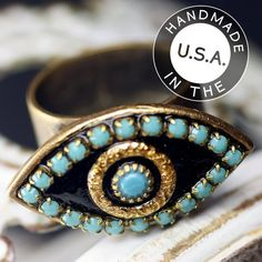 Michal Golan Gold and Turquoise Evil Eye by MichalGolanJewelry