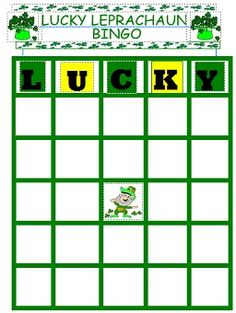 st patricks day game free print and play Lucky Leprachaun Bingo! fun for all ages.. great for class parties