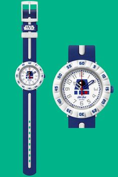 This stylish Swiss-made plastic watch for kids is a must-have gift for the youngest generation of Star Wars fans. Paying tribute to the small but heroic robot, R2-D2 (ZFFLP006) is inspired by his classic blue and white design. Kids find it easy and fun to learn to tell the time with this watch, which has a rotating bezel, digital printed dial, and soft TPU plastic strap. R2 D2, Telling Time, Robot, Fans, Star Wars, Blue And White, Plastic, Watches, Inspired