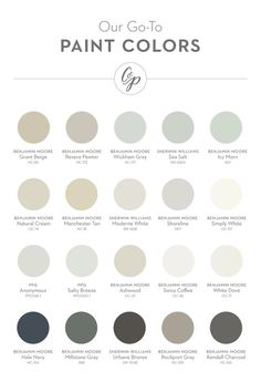 Our favorite paint colors (from left to right): Grant Beige (BM), Revere Pewter … - Modern Interior Paint Colors For Living Room, Paint Colors For Home, House Colors, Dining Room Paint Colors Benjamin Moore, Kelly Moore Paint Colors Interiors, Neutral Paint Colors, Paint Color Schemes, Grey Beige Paint, Beige Walls