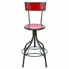 "Perfect for sipping cocktails or enjoying a light lunch, this metal barstool features a weathered patina and adjustable seat.     Product: Barstool Construction Material: Metal Color: Fire engine redFeatures:  Adjustable seat heightDistressed finish  Dimensions: 26.5-41"" H x 18"" Diameter"