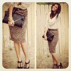 Polka dots AND leopard! I LOVE IT! I'll take those shoes and clutch too.