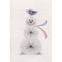 Snowman with a Bird | Christmas patterns at Stitching Cards.
