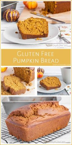 Gluten-Free Pumpkin Bread recipe is a great option for the holidays. If you are looking for alternative breads, this recipe produces a delicious pumpkin bread that no one will suspect is gluten-free. Your family and friends will love it! Gluten Free Recipes For Breakfast, Gluten Free Sweets, Gluten Free Breakfasts, Gluten Free Cooking, Vegan Gluten Free, Dairy Free, Patisserie Vegan, Gluten Free Pumpkin Bread, Gluten Free Thanksgiving