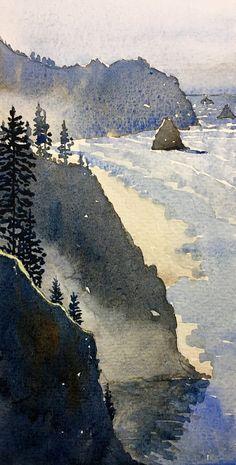 Down the Coast Watercolor Ocean, Watercolor Tips, Watercolor Techniques, Watercolor Landscape, Watercolour Painting, Painting Techniques, Watercolors, Painting Corner, Beautiful Park