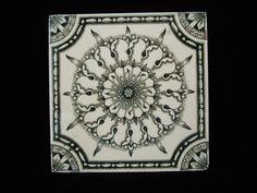 Brown Victorian Tile ~ Green Snowflake 1880