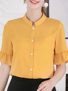 Band Collar Plain Short Sleeve Blouse new styles every day from dresses, onesies, heels, coats, shop womens clothing now. Bell Sleeve Blouse, Short Sleeve Blouse, Blouse Styles, Blouse Designs, Top Wedding Dresses, Printed Blouse, Blouses For Women, Sleeves, Clothes