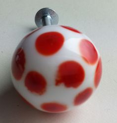 One Handmade Glass Lampwork White Lipstick Red Spotty Door Draw Knob £7.10