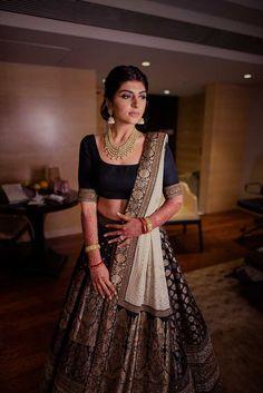 Banarasi lehenga - HighSpirited Goa Wedding with Gobs of Decor Inspo & Glam Outfit Choices! Banarasi Lehenga, Indian Lehenga, Anarkali, Sabyasachi, Lengha Choli, Indian Wedding Lehenga, Indian Saris, Lehenga Blouse, Punjabi Wedding