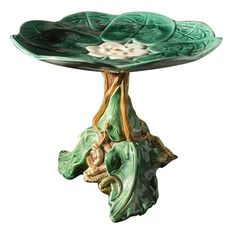 Majolica Water Lily compote with snail and lizard base -- this would have a place of honor in my world