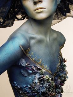 """I am captured by body art that incorporates texture"", depth and varied media. Sweet Loretta    The virgin forest: Body Painting by Evgeny Freeone"