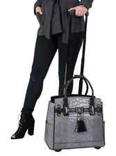 Arrive in style with this elegant faux black alligator crocodile exterior carryall or rolling briefcase. Grab your laptop, iPad, tablet,. Rolling Laptop Case, Rolling Bag, Leather Laptop Case, Laptop Tote, Computer Bags, Rolling Briefcase, Laptop Bag For Women