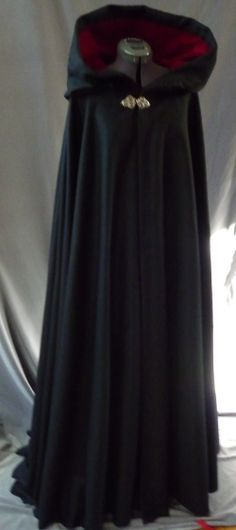 Full Circle Cloak: black wool & cranberry velvet lining $269