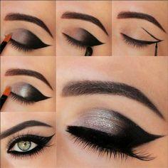 maquillaje para ojos de color plata con negro