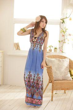 Fashion Sleeveless V-Neck Beach Maxi Dress