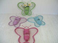 Vintage Wicker Pastel Butterfly Wall Pockets Set by DivineOrders