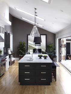 dark gray kitchen wall paint color with dark cabinets | decorating
