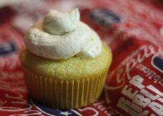 This cupcake is in tribute to President William McKinley. It is a pineapple cupcake with mango whipped cream in the middle. It is topped with macadamia buttercream frosting.