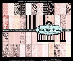 Paris Pink and Cream Seamless Patterns Set 48 by withwildabandon, $7.50  https://www.etsy.com/listing/103442933/paris-pink-and-cream-seamless-patterns?ref=sr_gallery_21&ga_search_query=paris&ga_ship_to=US&ga_page=16&ga_search_type=all&ga_view_type=gallery