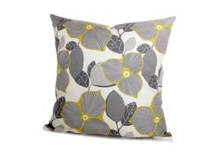 (Informing the color scheme of my new living room!)    Pillow Covers Yellow and Gray Decorative Pillow  TWO 16x16. $32.00, via Etsy.