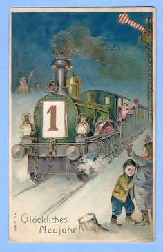 Original Early New Years Train with Children Postcard