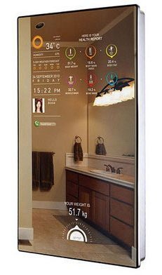 We are managing to fit information displays everywhere: televisions, phones, the. - Home Technology Ideas Diy Electronics, Electronics Projects, Smart Mirror Diy, Magic Mirror, Mirror Mirror, High Tech Gadgets, Edc Gadgets, Office Gadgets, Smart Home Technology