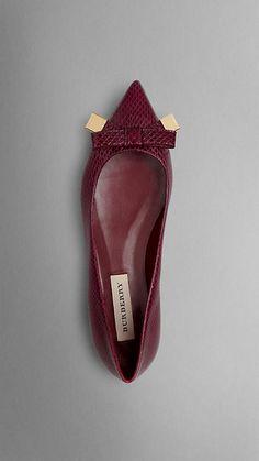 Bow Detail Point-Toe Snakeskin Ballerinas   Burberry