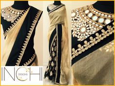 Code: ID_Gold black Price: Rs. 5600Gold tissue and black net sari with black velvet border Blouse: Black semi raw silk (1 metre) with heavy mirror work neck piece (as shown in the pic)To purchase this sari  please inbox us or mail us at inchidesigns@gmail.comOnly one piece available. Once sold  we won t be able to take up custom order for the same.