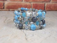 Blue and Gray Bracelet Light Blue and Pale by BlueJeanGirlDesigns