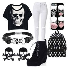 """Skulls"" by fashforfunfff ❤ liked on Polyvore featuring Bling Jewelry, Yves Saint Laurent, women's clothing, women's fashion, women, female, woman, misses and juniors"