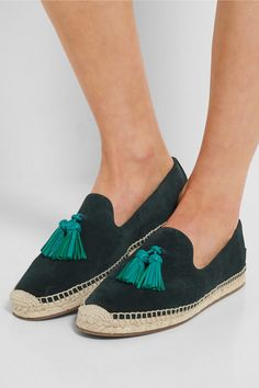 Sole measures approximately 30mm/ 1 inch Forest-green suede, aqua leather  Slip on Made in Spain