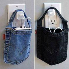 Super cute way to repurpose jeans into iPhone or iPod charger holders!