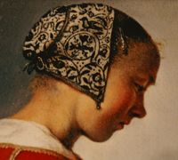 N e e d l e p r i n t: Blackwork head covering from a Dutch painting of 1697