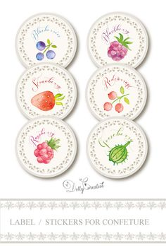 6 Labels / stickers for jams handpainted di DottyCreative