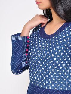 Buy Indigo Long Pleated Cotton Kurta Online at Jaypore.com