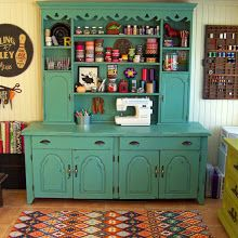 I need to find an old hutch at a thrift store! dining hutch turned craft storage