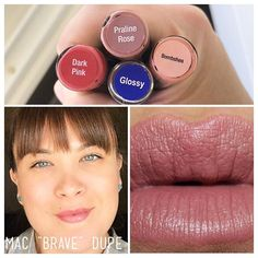 """""""Color Match Monday"""" Today I'm color matching Mac """"brave"""" lipstick. 1x Dark Pink, 1x Praline Rose, 1x Bombshell and top with Glossy gloss. I'm loving this color as an everyday look. If you're a MAC lover come switch to a long lasting lipstick. I have all these colors in stock ready to ship or pick up. shop at: Senegence.com/lastinglipsbylindsey . link in profile lasts up to 18 hours smudge-proof, kiss-proof, and water-proof over 70 colors to choose from"""