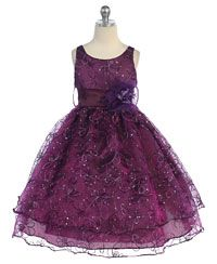 Flower Girl Dresses - Girls Dress Style 736- Organza Sleeveless Dress with Sequin Embroidery