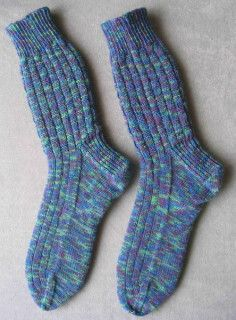 John's Basketweave Ribbing Socks in Opal Handpainted 14