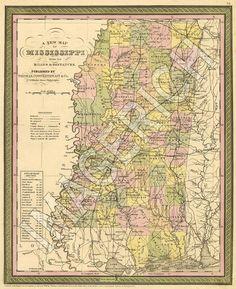 1850s Mississippi map