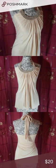 Alythea Jeweled Blouse In great condition. True to size. Very soft and flowing. No holes, snags or missing rhinestones. Not clingy. 94% Rayon 6% Elastine Pinkish Cream in color. Alythea Tops Blouses