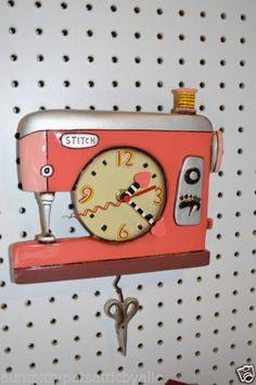 WHIMSICAL-PINK-CORAL-SEWING-MACHINE-CLOCK-MICHELLE-ALLEN-DBL-STITCH-SHIP-24-HR