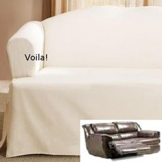 Reclining Loveseat Slipcover T Cushion Off White Adapted For Dual Recliner Love Seat