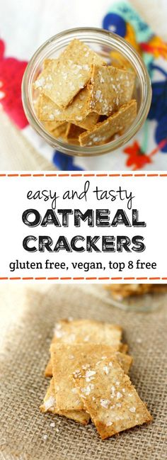 Easy Oatmeal Crackers (Gluten Free and Vegan) Easy and delicious crispy, crunchy gluten free cracker recipe. This recipe is so tasty, and much cheaper than store bought crackers! Gluten Free Crackers, Gluten Free Oats, Gluten Free Baking, Gluten Free Recipes, Vegan Recipes, Snack Recipes, Cooking Recipes, Delicious Recipes, Vegan Crackers