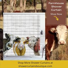Irongarden Colorful Cow Farmhouse Shower Curtain | shower curtains farmhouse style | shower curtains farmhouse rustic Rustic Farmhouse, Farmhouse Style, Farmhouse Shower Curtain, Curtain Shop, Rustic Curtains, Shower Curtains, Country Style, Cow, Colorful