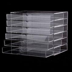 Free Shipping in DE Homdox Makeup Cosmetic Jewelry Organizer 5 Drawer Transparent Multipurpose Display Box Storage